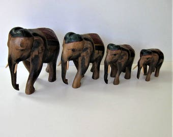 "Vintage set of 4 hand carved and painted wood elephants, 6 1/2"" tall, Animal sculpture art, elephant family, good luck figurines, gift idea"