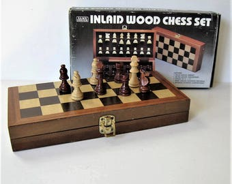 "1983 Inlaid wood  Chess set, 11"" x 11"", vintage hinged folding chess board, handcarved wood chessmen, 2"" chessmen, Man Cave, gift idea"