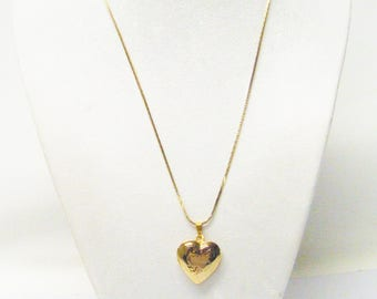 Classic Gold Plated Photo Heart Locket Pendant Necklace