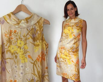vintage 60s shift dress mod dress neutral beige floral silk dress with big collar semi formal mod dress mid century classy dressy 1960s