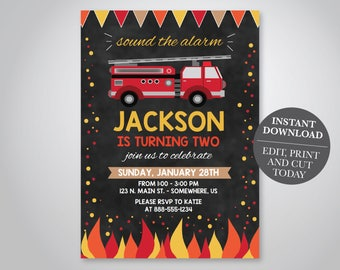 INSTANT DOWNLOAD - Firetruck Birthday Invitation, Fire truck Invitation, Fireman Invitation, Firefighter Invite, Chalkboard,
