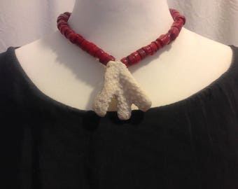 Beach white red Coral Necklace Silver Lock