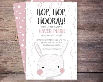 printable bunny birthday invitation, bunny birthday, rabbit birthday invitation, hop hop hooray birthday invite
