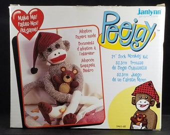 """Kit to Make 21"""" Traditional Sock Monkey with PJs and Teddy Bear"""
