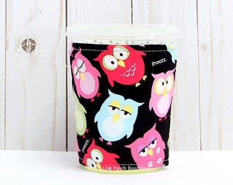 Small Owls Coffee Cozy, Iced Coffee Cozy, Cup Sleeve, Eco Friendly, Insulated Cup Sleeve,