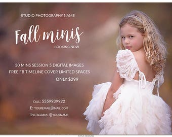 Fall Photography Marketing Template, 7x5in Fall Mini Session Board, Newsletter Ad, Photography Templates