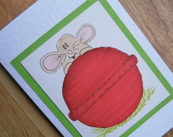Mouse Cricket card. Individually handmade greetings card featuring original illustration of a Mouse. For any occasion
