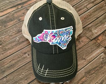 Home Distressed hat // Home hat // State pride hat // NC hat // State hat // Lily Pulitzer hat // Gift idea // Mom hat // Southern Hat