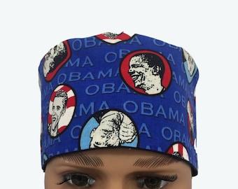 Unisex Scrub Cap - Barack Obama Democrat Scrub Hat - Election Day scrub cap - 4th of July Scrub Hat - Vet Tech Scrub Hat - Custom Scrub Cap