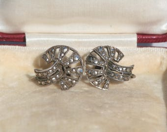 Art Deco Sterling Silver and Marcasite Screw Back Earrings 1920s 1930s