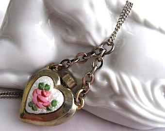 """Perfume Pendant Heart Charm, Enamel Guilloche Pink Rose Green Leaves, Vintage Scent Holder Flower Pendant, Poison Flacon, Sterling 18"""" Chain"""