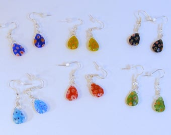 Multi Colored Millefleur Teardrop Earrings - Choice of Color