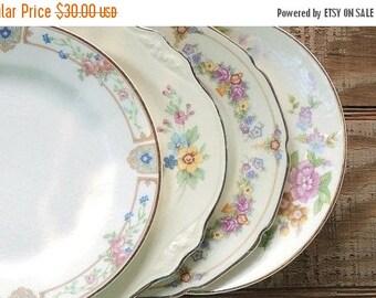On Sale Mismatched Plates Set of 4 Wedding Cottage Style Tea Cups & Vintage mismatched plates | Etsy