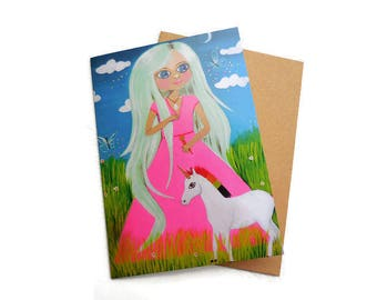 Unicorn Card, Unicorn Birthday, Rainbow Unicorn, Baby Unicorn, Unicorn Invite, Magical Unicorn, Unicorn Party Favors, Unicorn Gift,