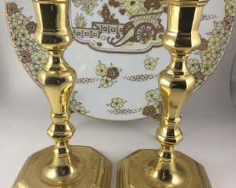 Pair of Heavy Brass Candlesticks, Large Candlesticks,  Pair Brass Candle Holders, Classic Candlesticks, Wedding Candle Holder