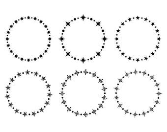Star and Snowflake Frame Clip Art Set | Circle Garland Wreath Winter Christmas Holiday Digital Graphic | Personal or Commercial Use