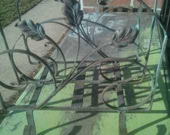 Wrought iron magazine holder with leaves/gorgeous construction/great patina