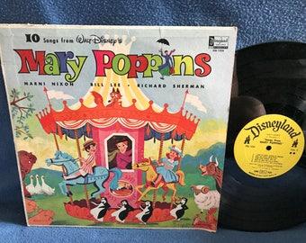 "Vintage, Walt Disney, ""Mary Poppins"" Original Soundtrack, Vinyl LP, Record Album, Childrens, Chim Chim Cheree, Mari Nixon, Bill Lee"