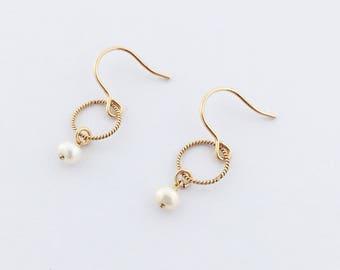 Gold filled pearl drop earrings