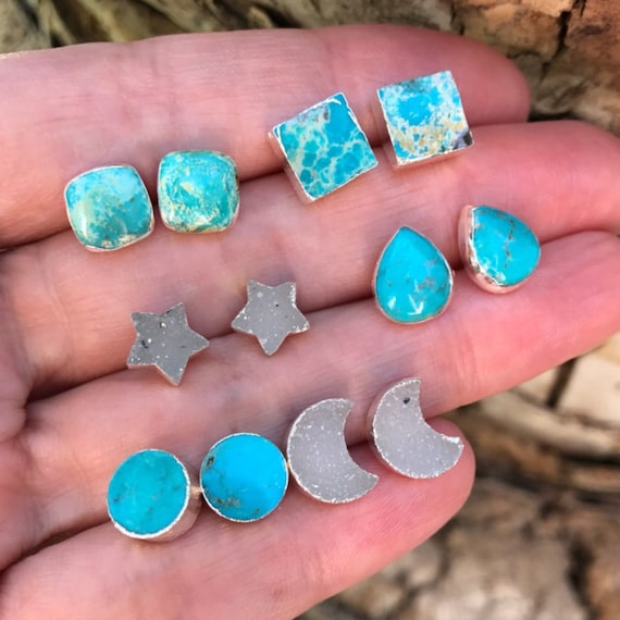 Turquoise earrings and Druzy earrings, turquoise studs, star earrings, moon earrings