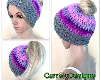 BUY1GET1HALFPRICE moms ponytail messy bun hat unique designer womens teens hand crochet knitted beanie hat boho tam irish dread yoga purple