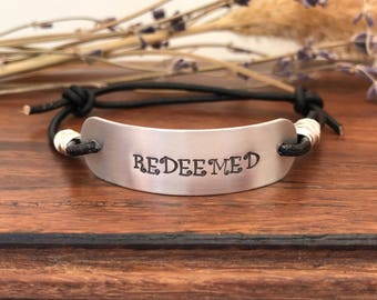 REDEEMED--leather bracelet--hand stamped--adjustable--wire wrapped--motivational--slide--daily reminder--silver--religious jewelry--bible