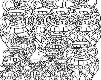 Miscellaneous Coloring Page Item 1 Vases.  Adult Coloring Page. Printable Coloring Page. Instant Download