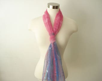 Vintage Pink Sheer Long Scarf - Striped with Blue - Long Spring Summer Fashion Scarves - Womens Accessories 1980s