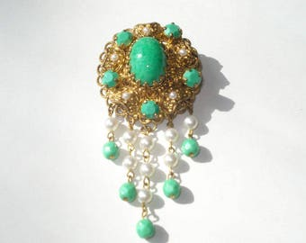 Vintage Brooch - Green and Gold Beaded - Ornate Pin -  Retro Costume Jewelry 1960s