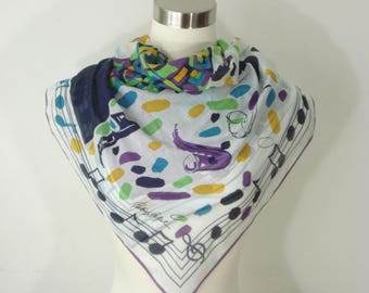 Vintage Musical Note Saxophone Scarf - Square Light Bold Scarves - Fashion Accessories 1980's -  Patrick Stoffel