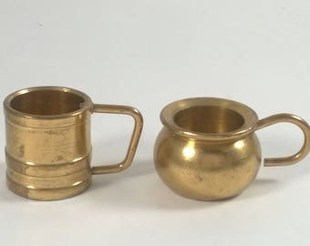 Vintage Miniature Brass Mug and Cup -  Tiny Little Dishes - Doll House Collectables Holland