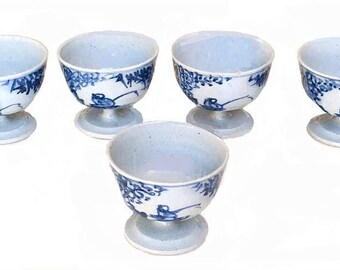Vintage Japanese Sake Set, blue pattern porcelain sake cups, barware Asian wine shots