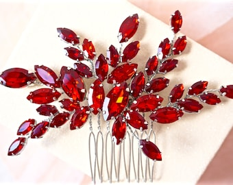 Red Rhinestone Hair Comb,Red Bridal Hair Comb,Red Wedding Hair Comb,Red Crystal Hair Comb,Red Hair Piece,Red Hair Accessory,Red Hair Comb
