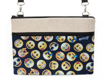 "Emoticon Laptop Bag, MacBook Pro 13"" Messenger Bag, MacBook Air 11"" Crossbody Bag, Dell XPS Laptop Zipper Tote - emoji yellow black"