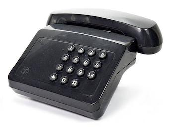 Tribune Vintage 1980s Push Button BT Retro Telephone in Charcoal Grey