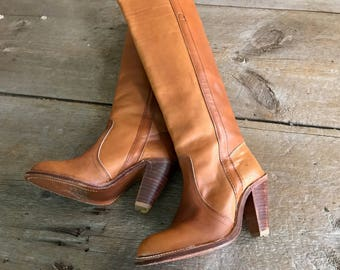 Frye Leather Riding Boots Light Tan Brown Size 6 US, High Heels, Knee High
