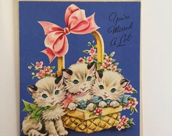 Kitten Card Unused / Vintage Miss You Card Kittens in a Basket A Sunshine Card 1950-1960's Unused with Envelope