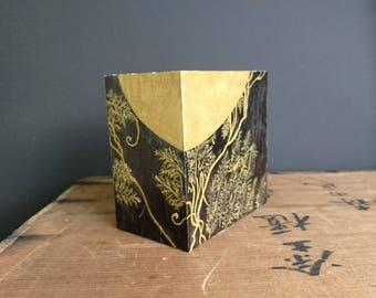Painted Wooden Box, Traditional Japanese Lacquer Design, Acrylic Paint, Handpainted - Small Original Painting on  Wood