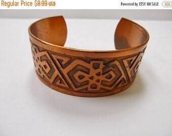 On Sale Vintage Genuine Copper Cuff Bracelet Item K # 2834