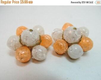 ON SALE Orange & White Plastic Earrings Item K # 1098