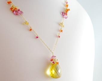 Gemstone Necklace, Summer Bride, Bright Yellow Lemon Quartz, Orange Carnelian, Pink Tourmaline - Citrus - Free Shipping