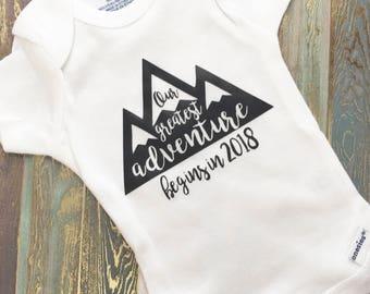 Our Greatest Adventure | Pregnancy Announcement | To Husband | To Grandparents | Gerber Onesie | Pregnancy Reveal | Baby Onesie | Keepsake