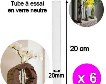 x 6 pieces 20cm width 20mm glass Test Tubes