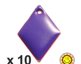 x 10 sequins 16x11mm violet enameled charms