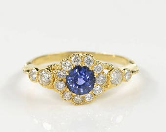 Victorian .70 Ct natural  blue sapphire and diamond distinctive ring