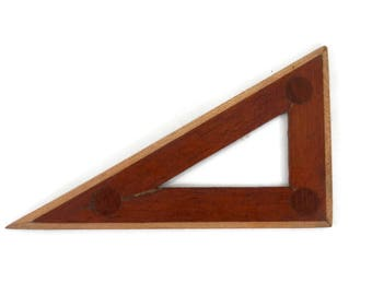 WWII Wooden Drafting Tool Triangle Hand Made & Signed w/Inlaid Border Antique Drafting Tools