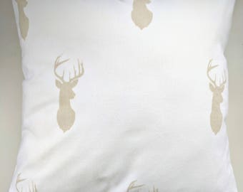 """Cushion Cover in Beige and Cream Stag Brushed Cotton 16"""""""