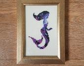 Galaxy mermaid cross stitch pattern - counted cross stitch, printable PDF