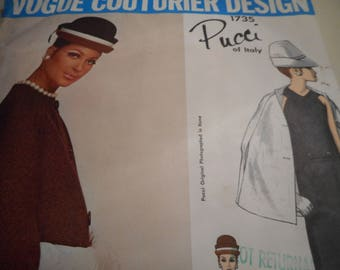 Vintage 1960's Vogue 1735 Couturier Design Pucci Sewing Pattern Size 12 Bust 32