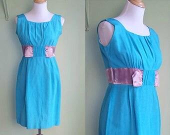 1950s Pink and Blue Shift Dress - Medium